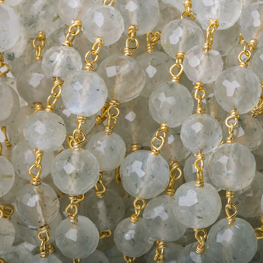 6-7.5mm Cream Moonstone faceted round Vermeil Chain by the foot 27 beads