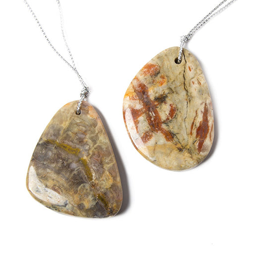 48x33mm Multi Color Sonoma Jasper front to back drilled Focal Pendant 1 piece