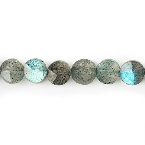 Superior quality 5.5-6mm Labradorite faceted coin beads 13.5 inches 62 pieces - Buy From The Bead Traders Online Store.