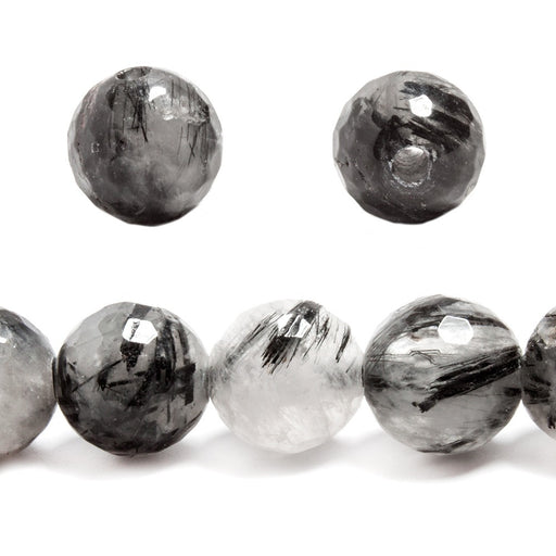 12mm Black Tourmalinated Quartz large hole faceted rounds 7 inches 16 beads