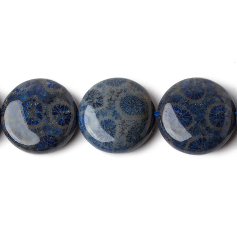 Premium quality 15mm Cadet Blue & Tan Fossil Coral plain coins 15.5 inch 27 Beads - Buy From The Bead Traders Online Store.