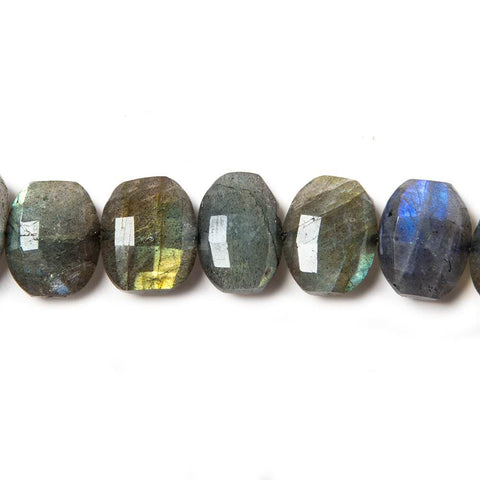 11x9-13x10mm Labradorite side drilled Faceted Cushion Beads 7 inch 16 pieces