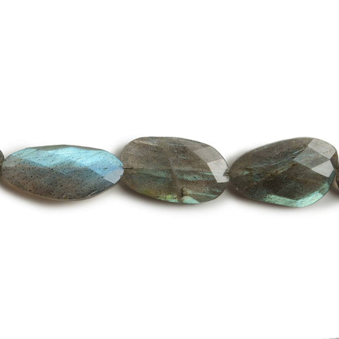 15x8-19x11mm Labradorite faceted flat nugget beads 10 inch 15 pieces