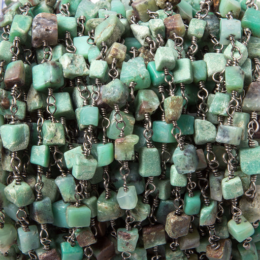 3.5-5mm Chrysoprase plain squares Black Gold Chain by the foot 28 pcs