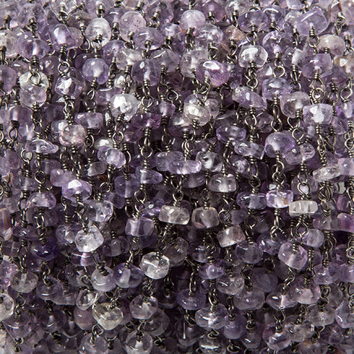 4-4.5mm Shaded Amethyst plain rondelle Black Gold Chain by the foot 38 pcs