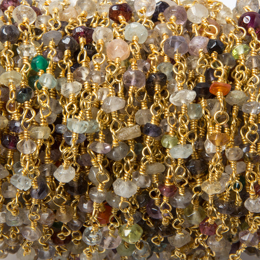 2.8-3mm Multi Gemstone faceted rondelle Gold Filled Chain by the foot 40 pcs