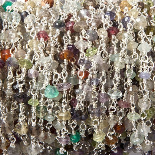 2.8-3mm Multi Gemstone faceted rondelle Silver Filled Chain by the foot 40 pcs