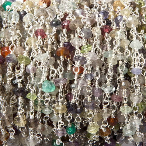 2.8-3mm Multi Gemstone faceted rondelle Silver Chain by the foot 40 pcs