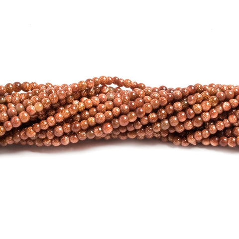 2mm Goldstone plain round beads 12 inch 200 pieces