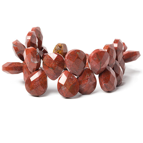 16x13x7.5mm Red Jasper calibrated faceted pears 8 inch 33 beads