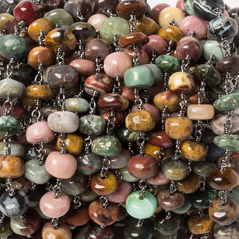 Best selling 6.5-7.5mm Multi Gemstone rondelle Black Gold Chain by the foot - Buy From The Bead Traders Online Store.