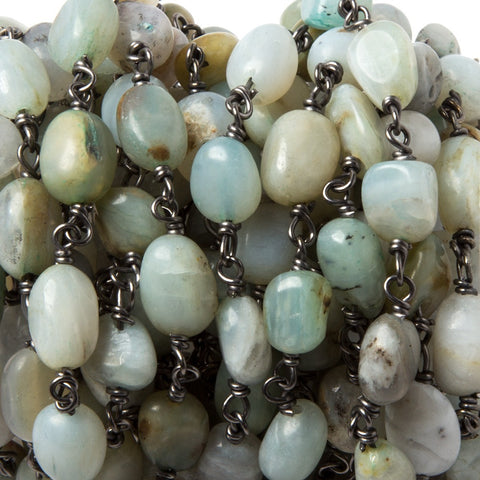 Superior quality 8x6-10x7mm Blue Peruvian Opal nugget Black Chain by the foot 19pcs - Buy From The Bead Traders Online Store.