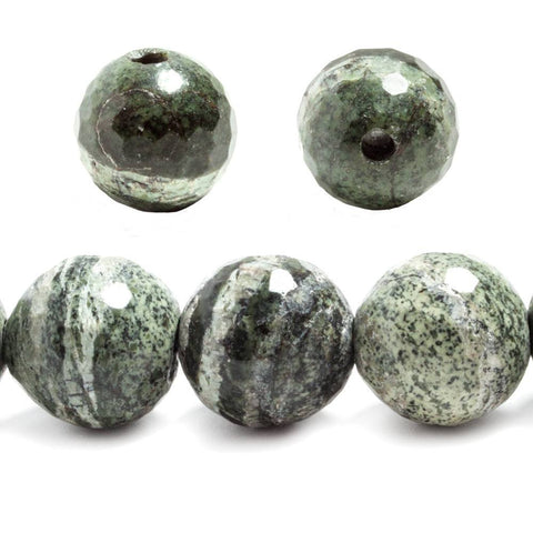 14mm Zebra Jasper faceted round beads 7.5 inches 14 pieces