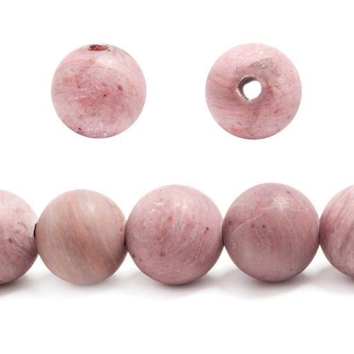 12mm Frosted Rhodonite plain round beads 7 inches 16 pieces