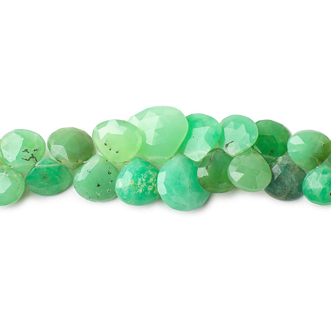 Shaded Chrysoprase faceted heart briolettes 8 inch 54 beads 6x6-11x12mm