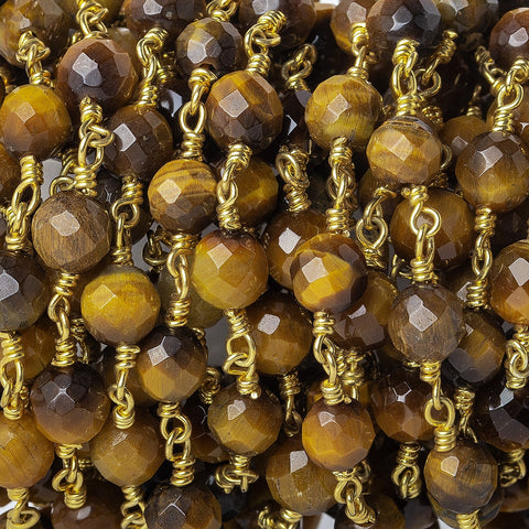 5-6mm Tiger's Eye Faceted Round Gold plated Chain by the foot