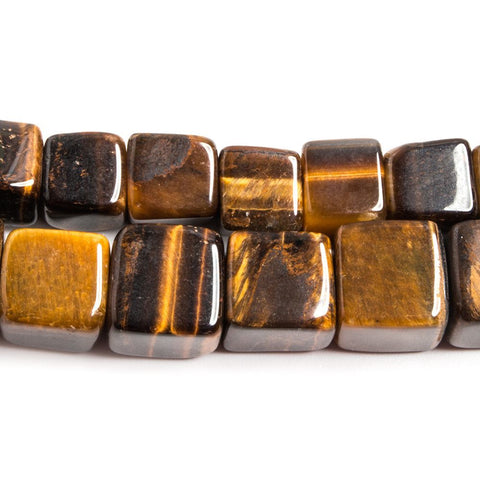 Premium quality 7-9.5mm Tiger's Eye plain cubes Lot of 2 strands 32 inches 104 beads - Buy From The Bead Traders Online Store.