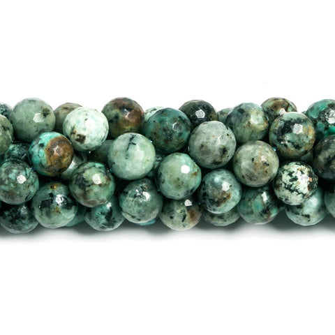 10mm African Turquoise faceted round Beads 15 inch 39 pieces