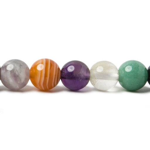 8mm Multi Gemstone plain round beads 15.5 inch 51 pieces
