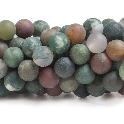 7.5mm Matte Fancy Jasper plain round beads 15 inch 49 pieces