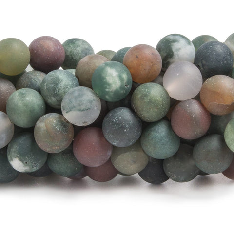 Best selling 7.5mm Matte Fancy Jasper plain round beads 15 inch 49 pieces - Buy From The Bead Traders Online Store.