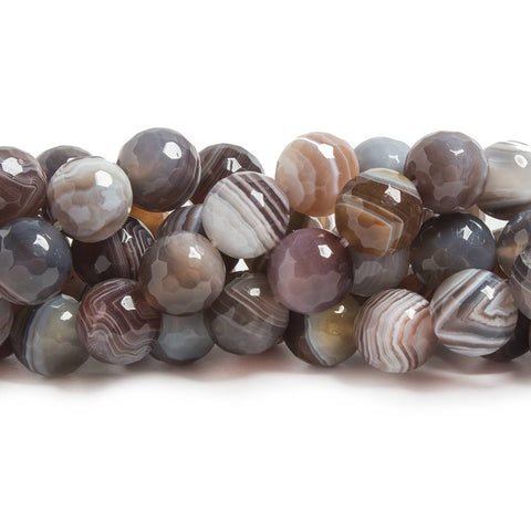 10mm Botswana Agate faceted round beads 15.5 inch 39 pieces