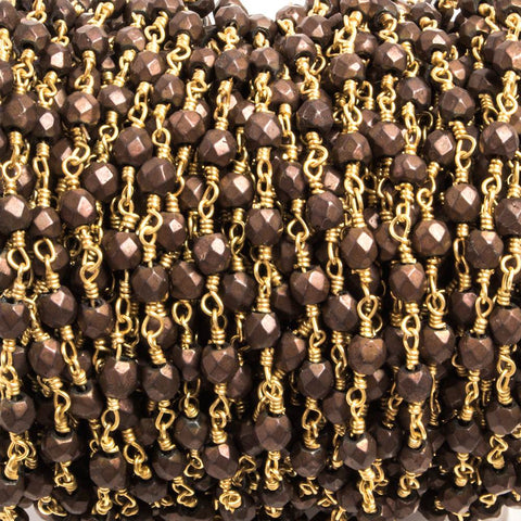 4x4mm Matte Brown Hematite faceted nugget Gold plated Chain 33 pieces