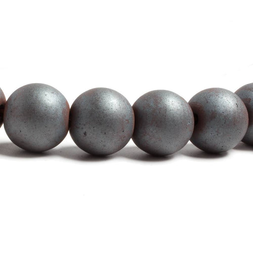 10mm Matte Hematite plain round beads 16 inch 43 pieces