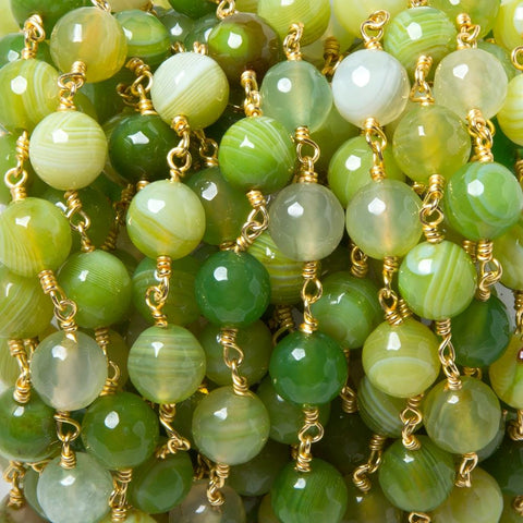 8mm Green Agate plain round Gold plated Chain by the foot 22 pieces