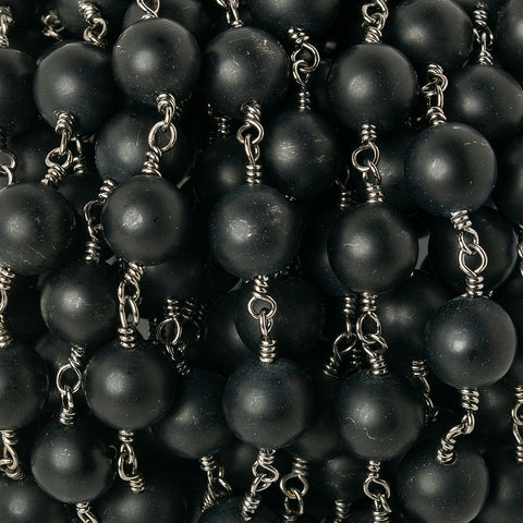 8mm Matte Black Onyx plain round Black Gold plated Chain by the foot 20 pieces
