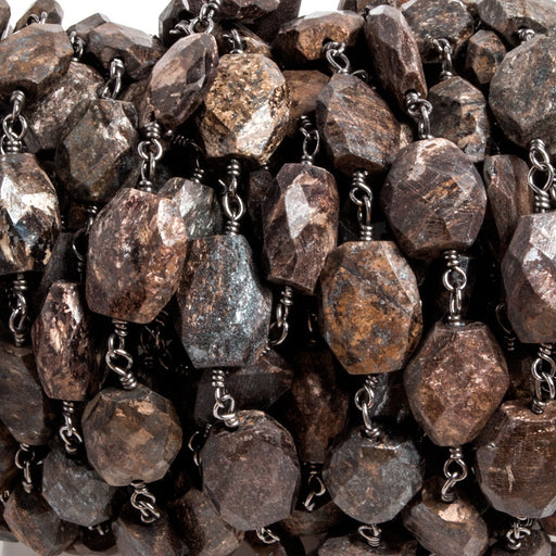 10x8mm Bronzite faceted nugget Black Chain by the foot 19 pcs