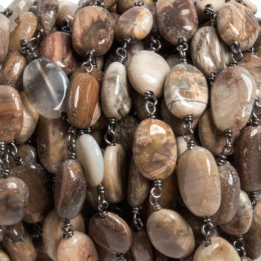 8x8-14x8mm Petrified Wood Jasper nugget Black Chain by the foot 18 pcs
