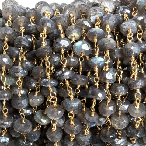 Attractive 6mm Mystic Labradorite faceted rondelle Gold Chain by the foot 35 pcs - Buy From The Bead Traders Online Store.