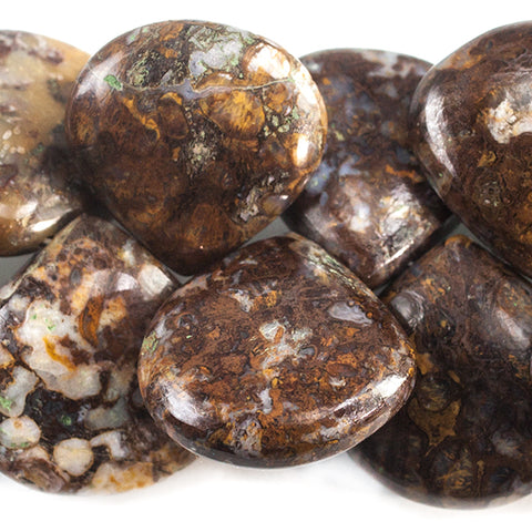 13 - 16mm Brown and Blue Brecciated Jasper Plain Heart Beads 8 inch 33 beads