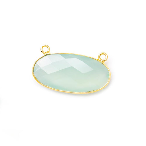 28x14mm Vermeil Bezel Sea Aqua Chalcedony oval East West Pendant 1 pc