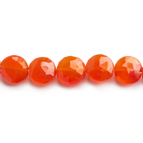 Carnelian faceted coins 8.5 inch 21 beads 10-11mm