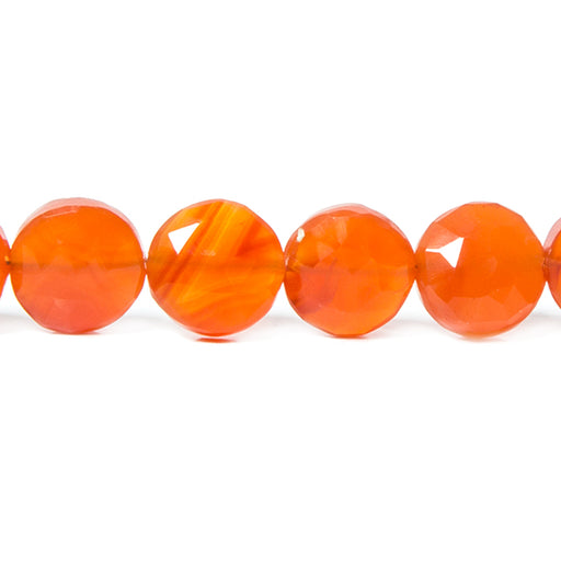 8-9mm Carnelian Faceted Coin Beads 8 inch 21 pieces