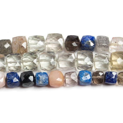 High quality 3.5-6.5mm Multi Gemstone faceted cube beads Lot of 3 strands 124 pieces - Buy From The Bead Traders Online Store.