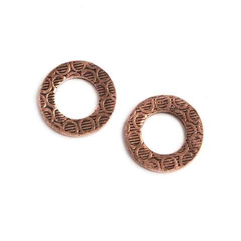 14mm Copper Ring Set of 2 pieces Embossed Circle Pattern