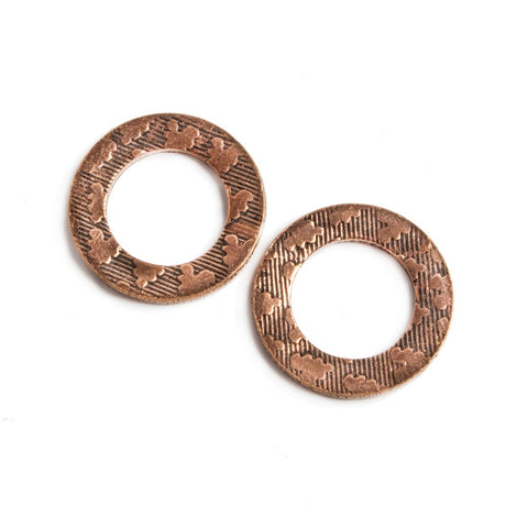 Top quality 16mm Copper Ring Set of 2 pieces Embossed Heart Pattern - Buy From The Bead Traders Online Store.