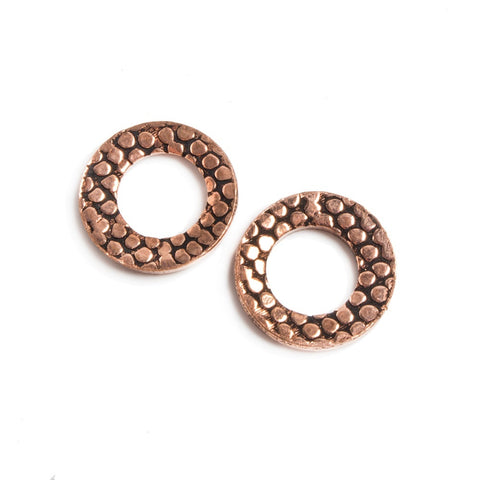 14mm Copper Ring Set of 2 pieces Embossed Rockwall Pattern