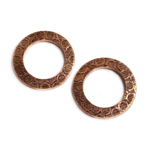 18mm Copper Ring Set of 2 pieces Embossed Circle Pattern