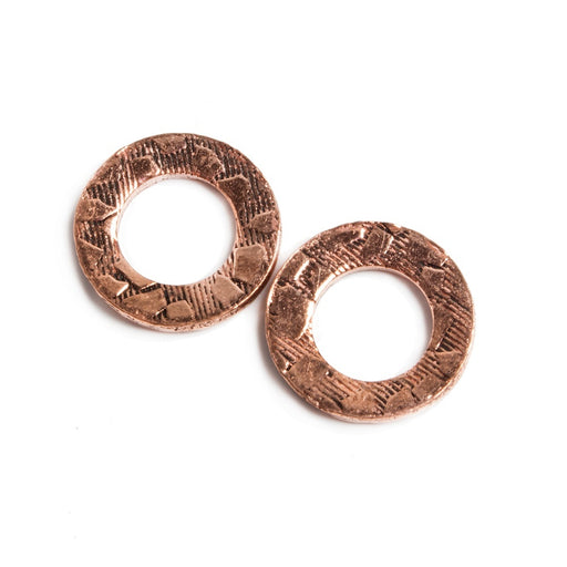 14mm Copper Ring Set of 2 pieces Embossed Animal Pattern