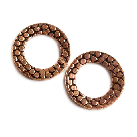 Beautiful 16mm Copper Ring Set of 2 pieces Embossed Rockwall Pattern - Buy From The Bead Traders Online Store.