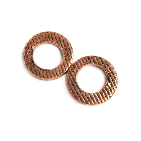 14mm Copper Ring Set of 2 pieces Embossed Waffled Pattern