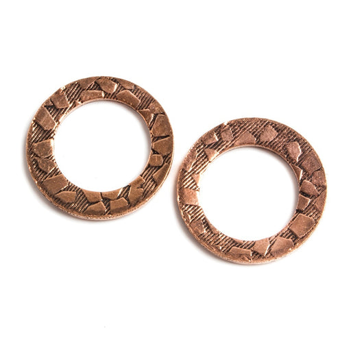 18mm Copper Ring Set of 2 pieces Embossed Animal Pattern