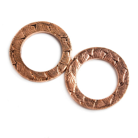 18mm Copper Ring Set of 2 pieces Embossed Rainbow Pattern
