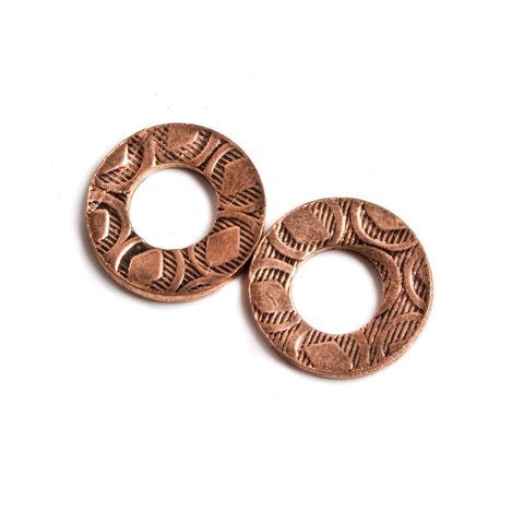 11mm Copper Ring Set of 2 pieces Embossed Diamond Pattern
