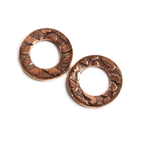 14mm Copper Ring Set of 2 pieces Embossed Cobblestone Pattern