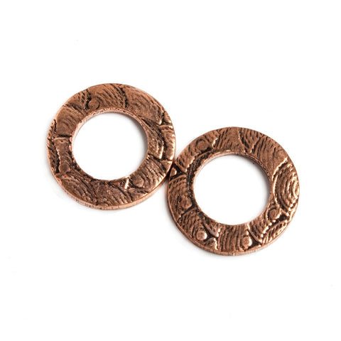 High quality 14mm Copper Ring Set of 2 pieces Embossed Rainbow Pattern - Buy From The Bead Traders Online Store.